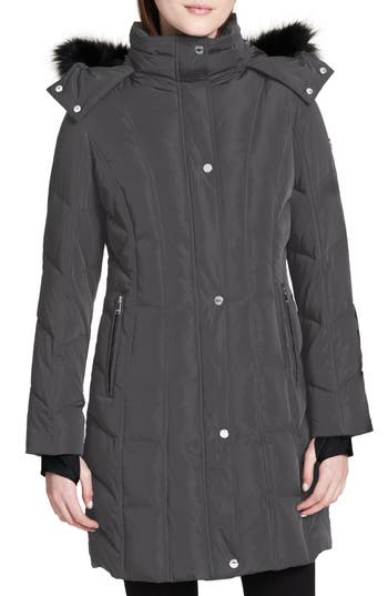 Women's Calvin Klein Hooded Down Parka With Faux Fur Trim, Size X-Small - Blue