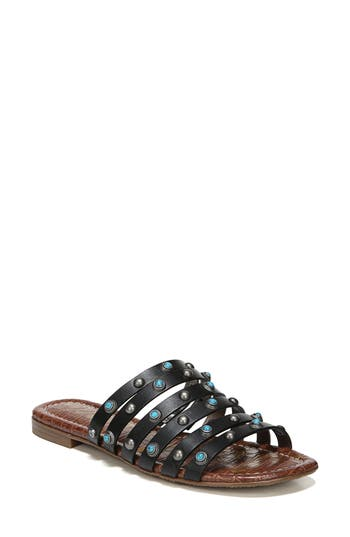 Women's Sam Edelman Brea Studded Slide Sandal, Size 7.5 M - Black