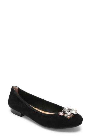 Me Too Sapphire Crystal Embellished Flat- Black