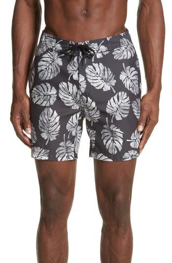 Onia Palm Stamps Alek Board Shorts, Black