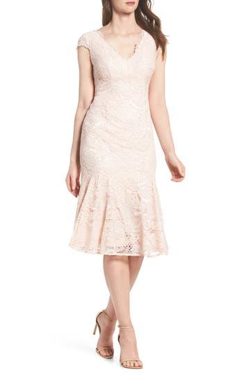 1920s Style Dresses, Flapper Dresses Womens Adrianna Papell Flounce Hem Lace Dress Size 16 - Pink $169.00 AT vintagedancer.com