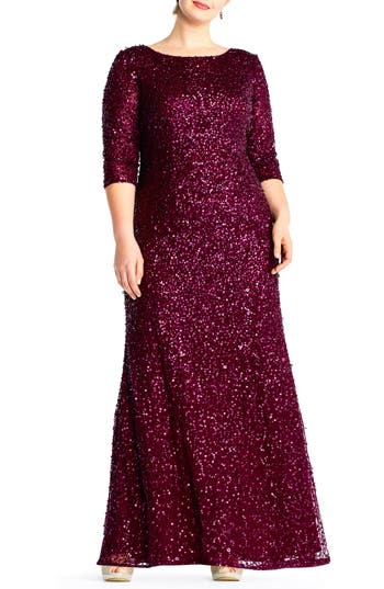 Plus Size Adrianna Papell Embellished Scoop Back Gown, Burgundy