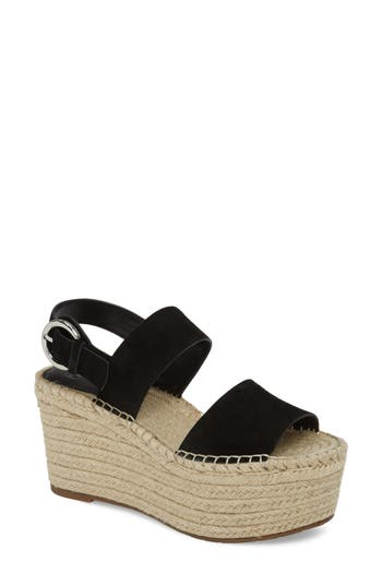 Marc Fisher Ltd Renni Espadrille Platform Wedge Sandal- Black