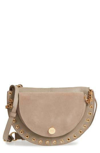 See By Chloe Kriss Leather & Suede Grommet Shoulder Bag - Grey