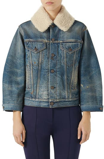 Gucci Print Back Denim Jacket With Genuine Shearling Trim, US / 42 IT - Blue