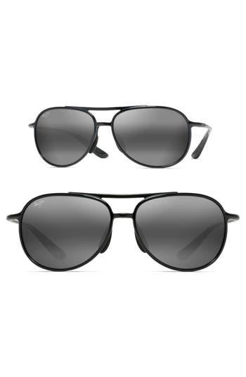 Maui Jim Alelele 60Mm Aviator Sunglasses - Black Gloss/ Neutral Grey