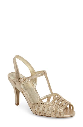 Vintage Inspired Wedding Dress | Vintage Style Wedding Dresses Womens Adrianna Papell Faith T-Strap Sandal $139.95 AT vintagedancer.com