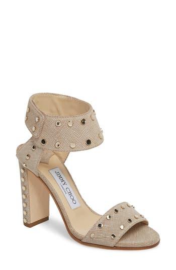 Women's Jimmy Choo Veto Studded Ankle Cuff Sandal, Size 4US / 34EU - Beige