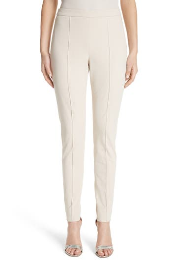 St. John Collection Fine Stretch Twill Leggings, Beige