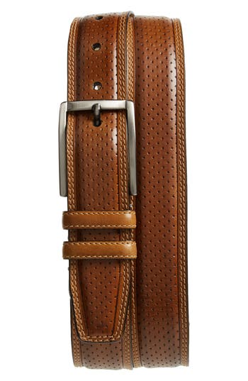 Mezlan Alfa Perforated Leather Belt, Honey