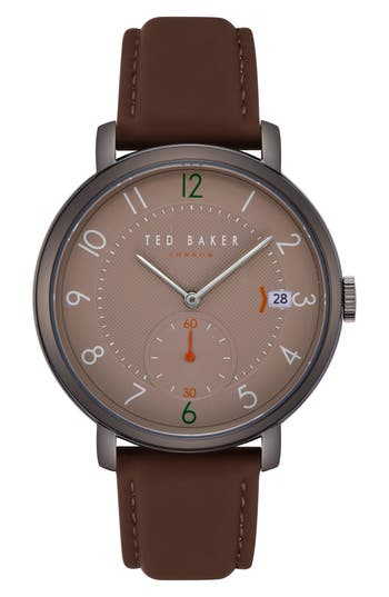 Ted Baker London Oscar Leather Strap Watch, 4m