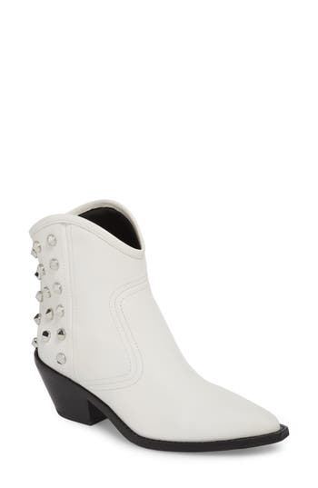 Marc Fisher Baily Studded Western Bootie, White