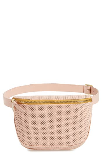 Clare V PERFORATED LEATHER FANNY PACK - PINK
