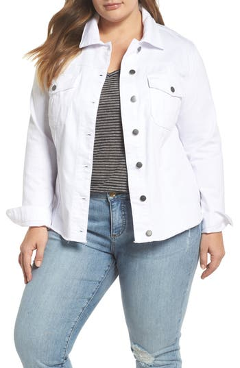 Plus Size Kut From The Kloth Kara Denim Jacket, White