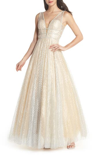 MAC Duggal Sequin Illusion Neck Gown, Beige