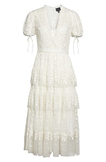 Vintage Inspired Wedding Dress | Vintage Style Wedding Dresses Womens Needle  Thread Layered Lace Dress Size 6 - Ivory $380.40 AT vintagedancer.com