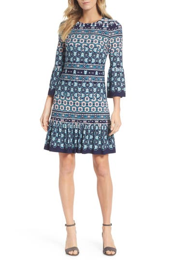 Eliza J Bell Sleeve A-Line Jersey Dress, Blue
