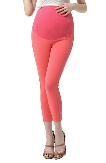 Kimi And Kai Tia Cropped Denim Maternity Leggings, Coral
