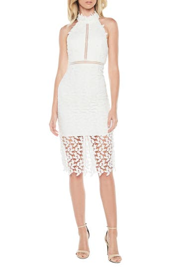 Bardot Gemma Halter Lace Sheath Dress, Ivory