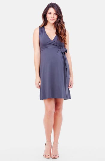Women's Ingrid & Isabel Sleeveless Wrap Maternity Dress, Size Medium - Grey