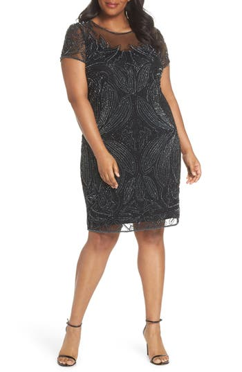 1920s Style Dresses, Flapper Dresses Plus Size Womens Pisarro Nights Beaded Sheath Dress $188.00 AT vintagedancer.com