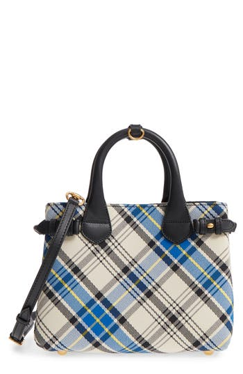 Burberry Small Banner Tartan Mix Tote - White