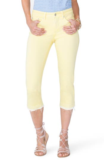 Nydj Release Hem Capri Skinny Jeans, Yellow