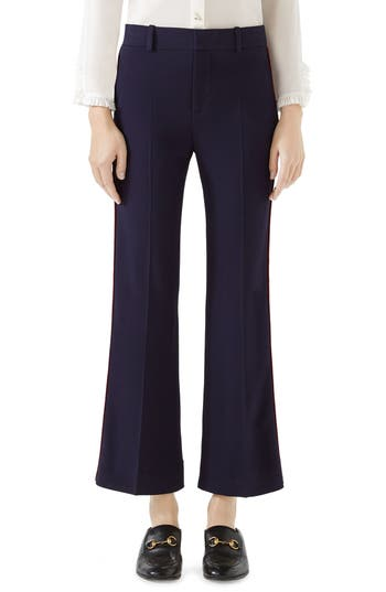 Gucci Side Stripe Stretch Cady Crop Flare Pants, US / 42 IT - Blue