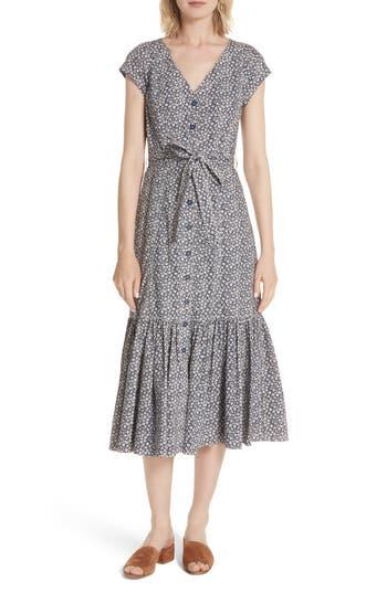Rebecca Taylor Lauren Tie Front Floral Cotton Dress, Blue