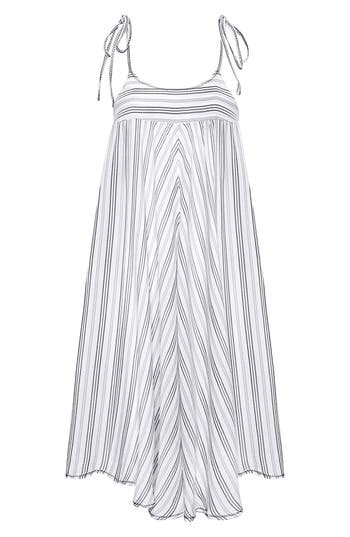 Robin Piccone Norah Stripe Cover-Up Dress, Grey