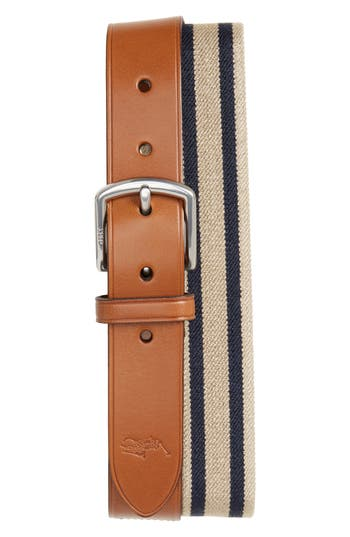 Polo Ralph Lauren Stretch Web & Leather Belt, Khaki/ Navy