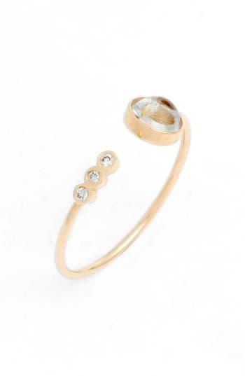 Zoe Chicco Moonstone Triple Diamond Open Ring