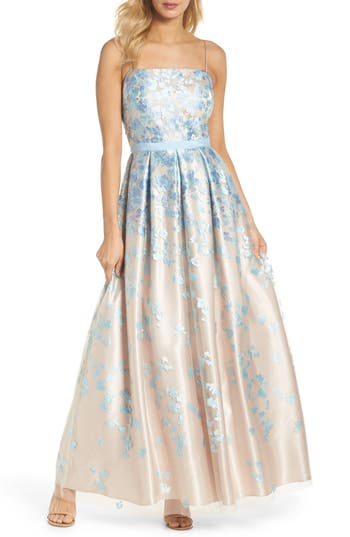Eliza J Floral Embroidered Box Pleat Ballgown, Blue