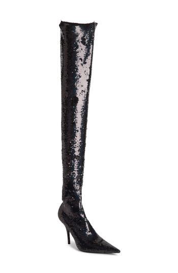 Balenciaga Sequin Over The Knee Boot, Black