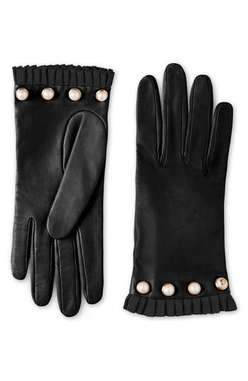 Gucci Nappa Leather Gloves With Grosgrain & Imitation Pearl Trim, Black