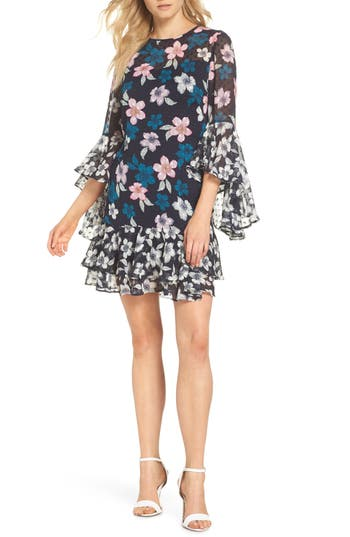 Eliza J Flounce Bell Sleeve Floral Fil Coupe Chiffon Shift Dress, Blue