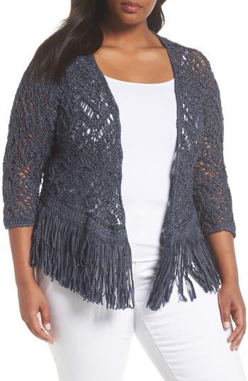 Plus Size Nic+Zoe Fiji Waves Fringe Jacket, Blue