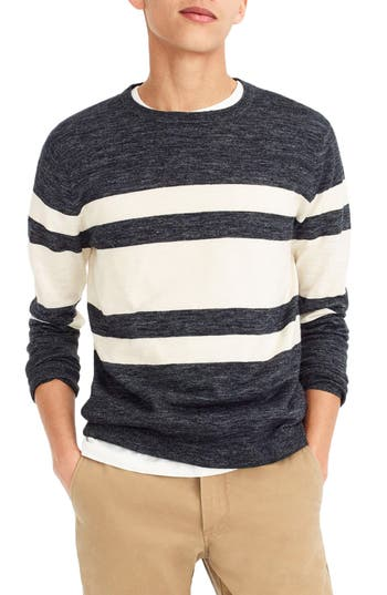 J.crew Multistripe Cotton & Linen Blend Crewneck Sweater, Blue