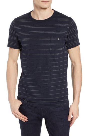French Connection Summer Graded Stripe Pocket T-Shirt, Blue