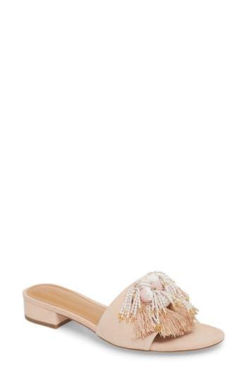 Rebecca Minkoff Kayleigh Embellished Slide Sandal, Beige