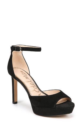 259bdf3c6fe868 Sam Edelman Women s Wallace Satin Platform High-Heel Sandals In Black Suede