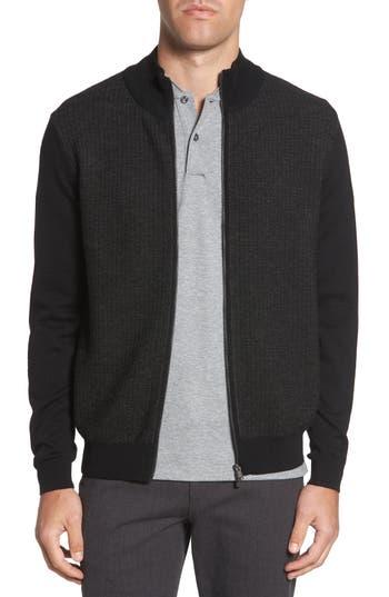 Boss Emondo Regular Fit Wool Zip Sweater, Black