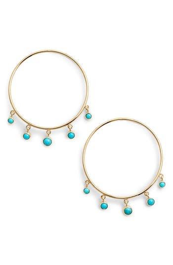 Zoe Chicco Dangling Turquoise Hoop Earrings