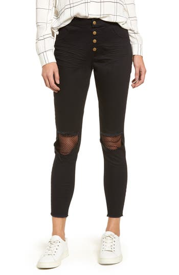 Zeza B By Hue Ripped Knee Denim Crop Leggings, Black