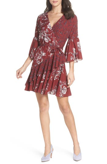 French Connection Ellette Crepe Faux Wrap Dress, Burgundy