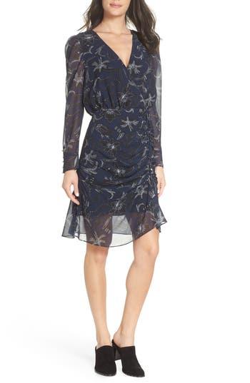 Sam Edelman Floral Chiffon Faux Wrap Dress, Black