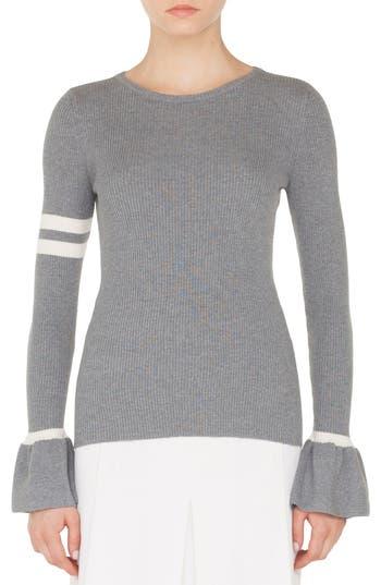 Akris Punto Stripe Wool Bell Sleeve Sweater, Grey