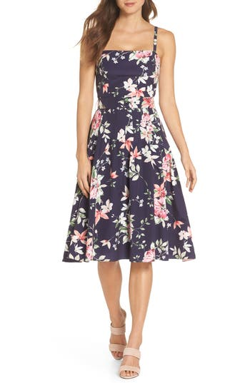 Eliza J Floral Belted Fit & Flare Dress, Blue
