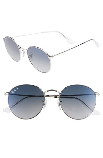Ray-Ban 5m Polarized Round Sunglasses - Silver / Blue