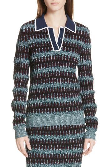 Carven Stripe Merino Wool Blend Polo Sweater, Blue